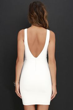 Ladies looking stunning in the Coquina White Lace Bodycon Dress is a widespread phenomenon! A sheer mesh decolletage meets scalloped lace and a plunging neckline, while a low V dips at back atop a hidden zipper. Medium-weight knit fabric completes the sexy silhouette with a bodycon skirt.