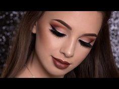 Burgundy Smokey Eyes & Bold Lips Makeup Tutorial   FALL MAKEUP - YouTube