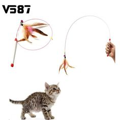 Wholesale Random Colored Feathers Funny Cats Wire Rods Flying Bell Favorite Cats Toy For Pet Products