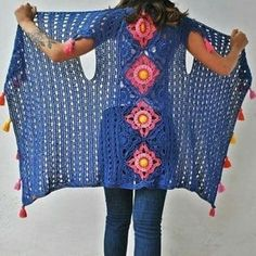 Crochet Cardigan Pattern, Crochet Jacket, Crochet Poncho, Crochet Granny, Diy Crafts Crochet, Rainbow Outfit, Diy Dress, Crochet Clothes, Boho Chic
