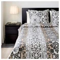 PRAKTTRY Duvet cover and pillowcase(s) - gray white beige e8c9431534008