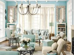 traditional blue paint living room tiffany style