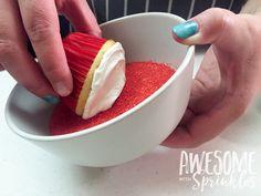 Poké Ball Cupcakes by Awesome with Sprinkles   Step 2: dip in sprinkles