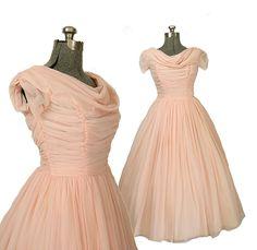 1950s Vintage Pink Chiffon Wedding Dress, Bridal M / L 10 12 14. $700.00, via Etsy.