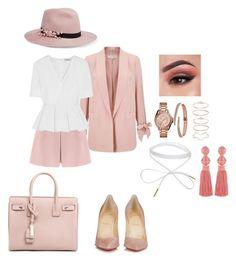 """Pink!"" by beleborges on Polyvore featuring beleza, Too Faced Cosmetics, Eugenia Kim, Miss Selfridge, Valentino, Balenciaga, Christian Louboutin, Mia Sarine, Oscar de la Renta e Yves Saint Laurent"