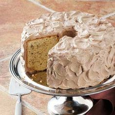 The hazelnuts give this cake a surprising crunch. It's covered with a buttery mocha frosting. Mocha Frosting, Buckwheat Cake, Burnt Sugar, Vegetarian Bake, Light Cakes, Hazelnut Cake, Traditional Cakes, Chiffon Cake, Cake Flour