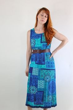 SALE - Vintage 90s Blue Paisley India Print Summer Maxi Festival Dress