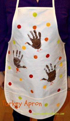 Easy craft for kids!  Give a Turkey Apron to parents or grandparents for Thanksgiving.  AMothersShadow.com