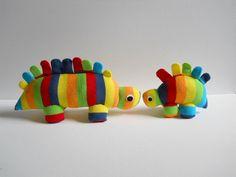 Plush Dinos (made from rainbow toe socks)