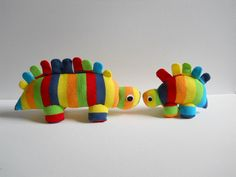 Plush Dinos (made from rainbow toe socks)