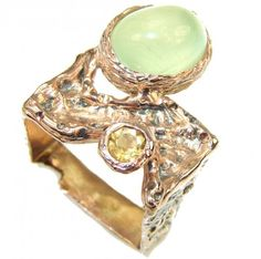 Blooming Garden! Moss Prehnite Gold Plated Sterling Silver ring; s. 8 1/4