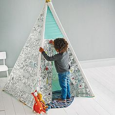 One of our all time favourite products for kids - creative activity that will stimulate imagination and keep them busy for hours. Handmade. http://www.cruxbaby.co.uk/shop/toys-6-months-toys-activity-learning/colour-your-own-teepee-2/