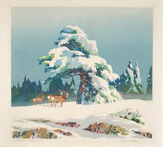 Ernest W. Watson, Christmas Morning, 1947, color linoleum cut on paper, Smithsonian American Art Museum, Gift of the artist -Erin
