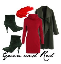 """""""green and red"""" by cskitti on Polyvore featuring Ralph Lauren Collection, Maybelline and Chicwish"""