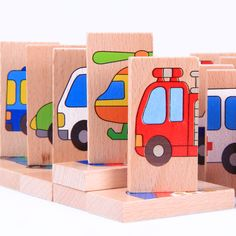 Free Shipping!Baby Toys Wooden Blocks Baby 28pcs Vechile Domino Toys Kids Educational Wooden Building Blocks Toys gift