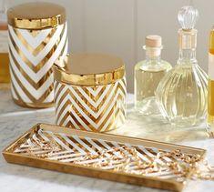 Gold chevron bathroom accessories http://rstyle.me/n/tq9x5nyg6