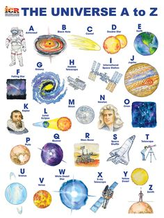 Explore space from A to Z in this watercolor style poster! Falling Stars, Lunar Eclipse, Space Telescope, Science Resources, Popular Books, Universe, Watercolor, Explore, Poster