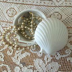 Vintage Ceramic Seashell Jewelry Box by Mz Jones Boudoir