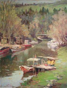 Goksu River by Turkish Painter Ayhan Türker Painters, Istanbul, River, Color, Art, Magick, Art Background, Colour, Rivers
