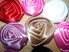 flores kanzashi en cinta para el cabello paso a paso No.055 Manualidades...