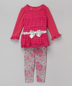 Look what I found on #zulily! Pink Floral Lace Tunic & Leggings - Girls #zulilyfinds