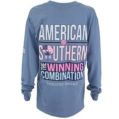 America & Southern Long Sleeve Tee in Blue Jean by Jadelynn Brooke