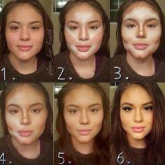 Cara afilada con maquillaje