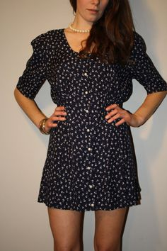 Navy and White Floral Dress by PrudenceandAustere on Etsy, $35.00