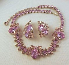 Sherman Faux Alexandrite Necklace Earrings Color Change Silver-tone  http://www.rubylane.com