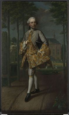 Extremely Shy Hands! Portrait of Gerard Cornelis van Riebeeck, Mattheus Verheyden, c. 1755. Van Riebeeck had himself portrayed against the back-ground of his estate. He was an influential regent, who from a young age served as town secretary of Delft. Here, he wears a gold brocaded coat with matching cuffs. The large number of buttons sewn on his clothing is remarkable: most are purely decorative,