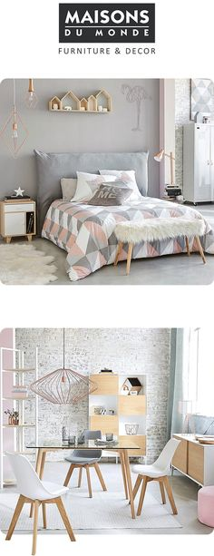 Bedroom Dreams: Grey, cream and pastel shades accented with geometric patterns, raw wood and copper or gold metallics makes the Urban Soft trend from Maisons Du Monde a must see. Click now for some seriously Scandi interior inspiration. Trendy Bedroom, Scandi Bedroom, Urban Bedroom, Bedroom Interiors, Home And Deco, Room Inspiration, Interior Inspiration, Kitchen Inspiration, Bedroom Colors