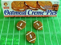 Kitchen Fun With My 3 Sons: Shortcut Oatmeal Creme Football Pies (Basketball Snacks) Football Treats, Football Party Foods, Football Banquet, Football Food, Kids Football Parties, Football Birthday Cake, Sports Birthday, Flag Football Party, Superbowl Party Food Ideas