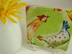 Colorful ROOSTERS Display Tile with White antique by mydecor8, $8.95
