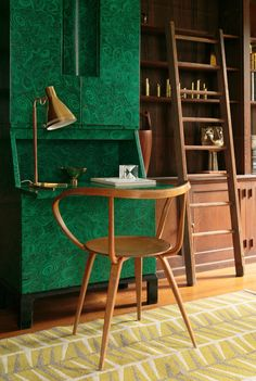 Interior by Stockholm Contemporary for The Exchange Int.- gallery: Malachite trumeau by Piero Fornasetti (Italy, c.1950s), George Nelson Pretzel chair by Herman Miller (USA, 1952) and a double-sided rug by Ingrid Dessau for Kasthall (Sweden,...