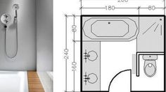 Plans de salle de bains de 5 à 11 m²