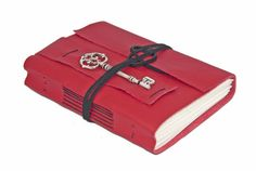 Red Leather Journal with Key Bookmark  Ready to by boundbyhand