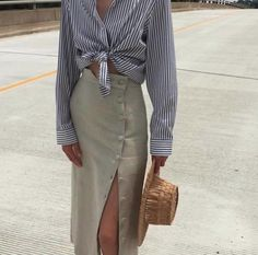 button maxi skirt and blue tie front women's blouse. Visit Daily Dress Me at dailydressme.com for more inspiration