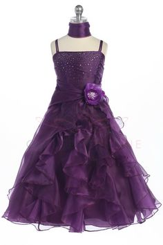 Plum Jeweled Bodice Ruffle Layered Flower Girl Dress L4259PL $54.95 on www.GirlsDressLine.Com