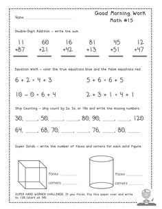 "Free Good Morning Work ""Tester Pages"" - Common Core aligned daily math warm ups!"