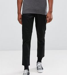 ASOS TALL Tapered Cropped Chinos In Black - Black