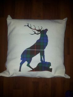 Auction item 'Ancient Hunting Fraser Stag Design Tartan Cushion' hosted online at 32auctions.