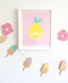 Ice cream garland and fruit print. Kids room ideas. Girls room! http://instagram.com/milka_interiors/