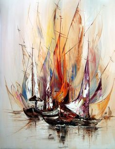 On My Way Abstract Inner Soulart - Malerei Abstract Canvas, Oil Painting On Canvas, Canvas Art, Sailboat Painting, Boat Art, Painting Techniques, Watercolor Art, Art Drawings, Fine Art
