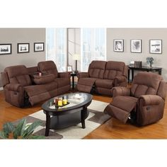 Sofa Beds Nantes Microfiber Reclining Motion Sofa Set with Console Free Shipping Today Overstock