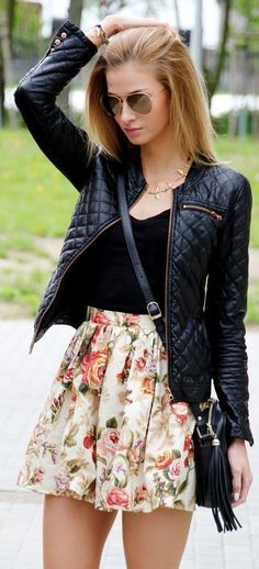 Quilted moto jacket and floral skirt