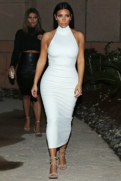 Best Kim Kardashian - White Fitted Turtleneck Maxi Dress & Lace-Up Sandals