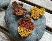 4pcs - Red Strawberry Crochet Appliques - fine acrylic yarn - made to order. $2.00, via Etsy. (for headband)