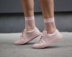 423f52f7592 blush pink fishnet socks + pink sneakers on Lexicon of style Blush Pink  Sneakers