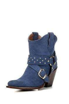 "This is an instant boot legend, fully crafted from rich blue leather. The details are total rock 'n' roll: a studded harness and wrapped belt with buckle. Its gold-tone studs and blue-on-blue suede lend a rich, at-ease style when worn with your favorite denim or dress. **This style runs small, so we recommend ordering 1/2 size up.** Shaft Height: 6 1/2"" Toe: Round Heel Height: 3 1/4"" Cushion Insole Leather Outsole Goodyear Welt Construction Shaft Circumference: 12"" on size 7 (measurement…"
