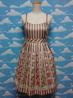 Patisserie Print Sleeveless OP (JSK) in Mocha from Emily Temple Cute - Lolita Desu